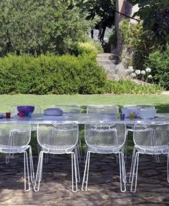 A defining feature of this collection is the hollow legs it is aaerate design because of its steel mesh sheet interacting with holes, it becomes almost like a mosaic, not quite but just as beautiful.