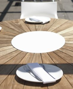 Gorgeous teak round dining table is sleek, modern and bold. three things that truly make an amazing table.