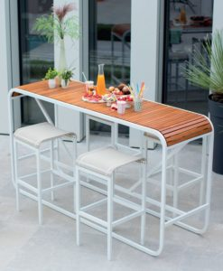 Amore Modern Teak Corian Bar Table, Chaise Lounger, Seating Area and Dining Collection