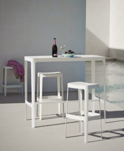Modern High Bar Table This new elegant & minimalistic bar table is made from laser cut aluminum, bended and welded toghether-simple, yet refined to blend with any design.