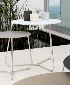 The Manutti Mood contemporary side table has either an electropolished stainless steel frame, or a powder coated aluminium frame.
