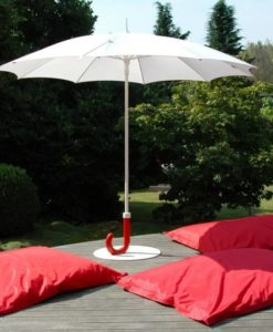 Modern umbrella base shaped like a hand held umbrella and the pole is made of anodized aluminum.
