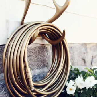 Color Garden Hose Gold Antler Hook Mount