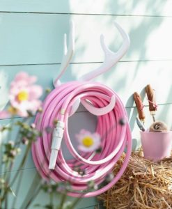 Color Garden Hose Pink w Antler Hook Mount