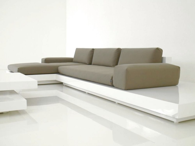 Perfect Air Modern Sofa White Lacquer Indoor. Modern Sectional Platform Sofa With  ...