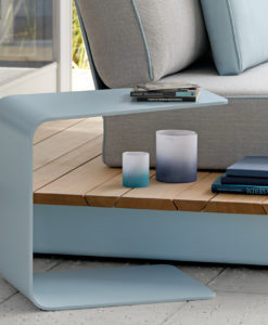 Outdoor modern side table the perfect complement for modern garden furniture from Manutti. The Gamma is made of ultra robust powder coated aluminum.