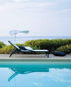 Grace is a modern or contemporary chaise lounger, is custom made with the teak arm rest or just pure colors you can create the most beautiful outdoor space.