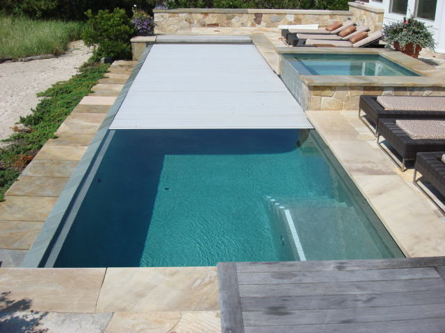 Residential rigid automatic pool cover couture outdoor - Covering a swimming pool with decking ...