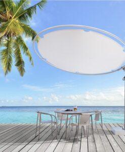 Round 360 rotation round umbrella With Sunbrella or Textsilk olefin fabrics