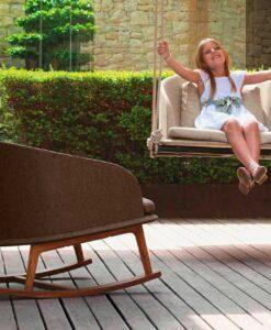 apropos modern teak swing chair