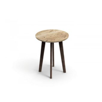 Apropos Side Table Travetine Silver