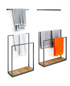 Modern teak towel rack with teak base and stainless steel or powder coated frame.