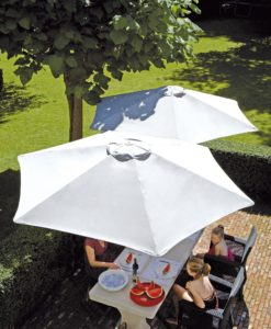 Thanks to Its design and unique style this umbrella is easy to be tilted and rotated in an almost infinite range one up to five canopies in one single pole.
