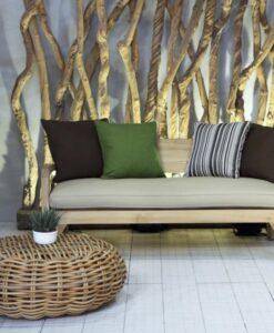 Aloha BB 2 Seater Sofa Restoration Teak Sunbrella Contract