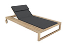 Belize modern teak luxury outdoor furniture design chaise lounge lounger grey cushion quickdry hotel hospitality patio