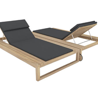 Belize modern teak luxury outdoor furniture design double chaise lounger grey cushion quickdry hotel hospitality patio b