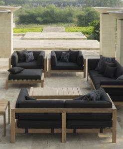 transitional contemporary outdoor teak sofa seating qdf cushion