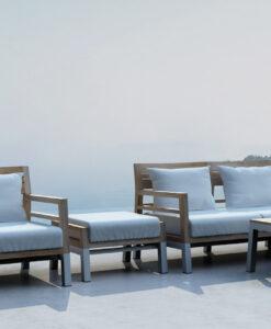 Modern Teak Aluminum Sofa