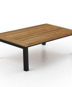 Modern Aluminum Teak Coffee Table