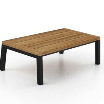 Modern Aluminum Teak Coffee Table