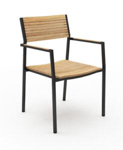 Modern White Black Aluminum Teak Dining Chair