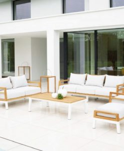 Bermuda modern teak white black aluminum luxury outdoor furniture design sofa seating hotel hospitality patio