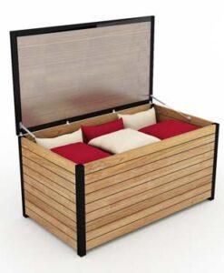 Modern Aluminum Teak Cushion Storage Box