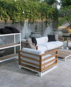 Modern Teak Aluminum Black White 3 Seater Sofa