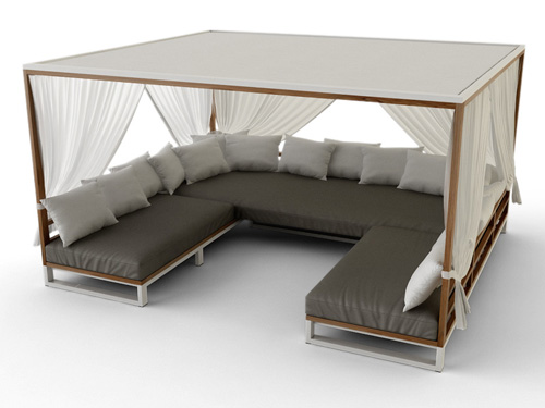 Bermudafied Modern Teak White Black Aluminum Luxury Outdoor Furniture  Design Daybed Sofa Curtain Retractable Roof Hotel