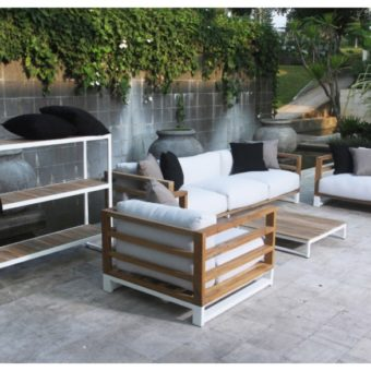 Bermudafied modern teak white black aluminum luxury outdoor furniture design sofa seating grey cushion quickdry hotel hospitality patio