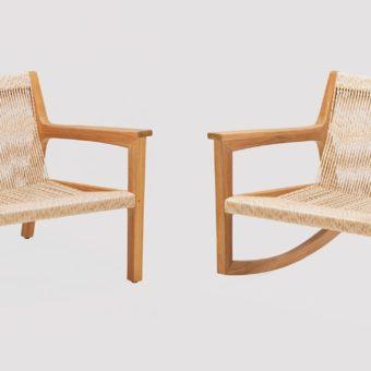 Avar Club Chairs Rocker Modern Teak Rope Pool Furniture