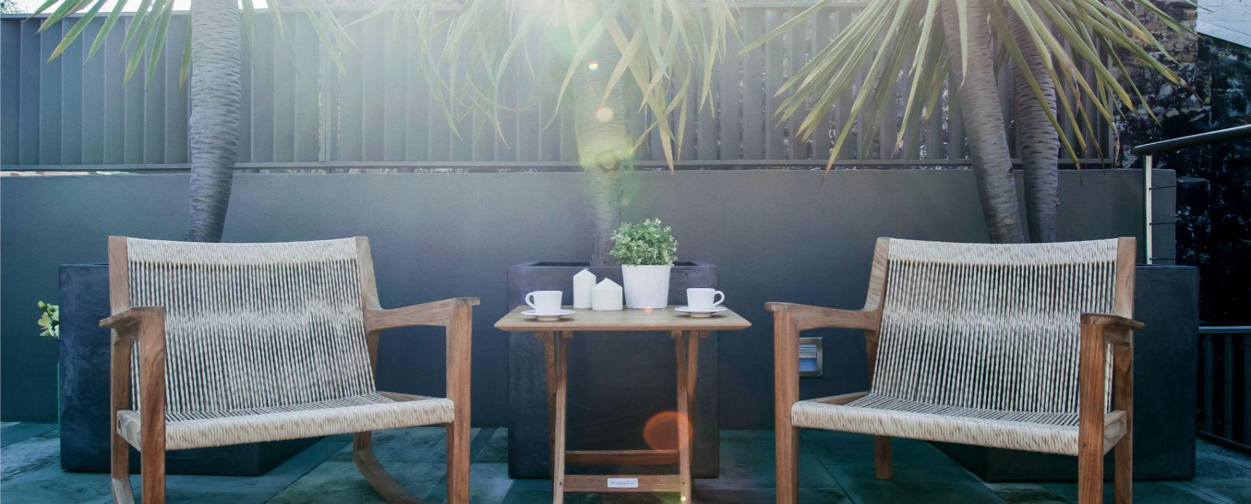 Avar Club Chairs Rocker Modern Teak Rope Pool Furniture Miami
