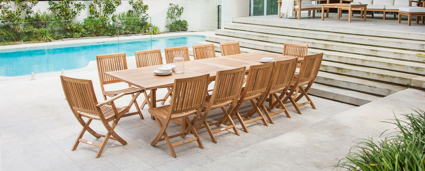 Becker Dining Table Traditional Teak Outdoor Patio Furniture ...