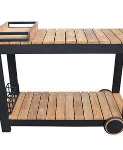 Modern Teak Black Aluminum Outdoor Bar Cart Trolley
