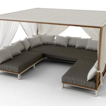Bermudafied Modern Daybed Pool Loveseat Outdoor Furniture Contract Hospitality Teak