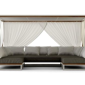 Bermudafied Modern Daybed Pool Loveseat Outdoor Furniture Contract Hospitality Teak 3