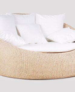 Modern Hand Woven Aluminum Teak Love Seat Daybed