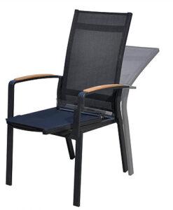 Modern Teak Armrest Stackable Aluminum Reclining Dining Chair