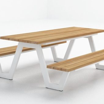 Modern Aluminum Teak Picnic Table Highend Strong Luxury Contemporary - High end picnic table