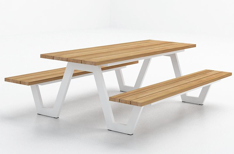 Modern Aluminum Teak Picnic Table Highend Strong Luxury Contemporary - Teak picnic table with benches