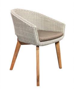 Modern Aluminum Wicker Teak Dining Chair W Sunbrella Cushion