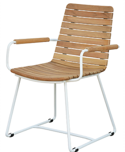 Ronda Luxury Outdoor Dining Chair Teak Stainless Steel PC Restaurant Furniture