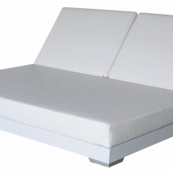 Modern Aluminum PVC Leather Daybed Double Chaise Lounger