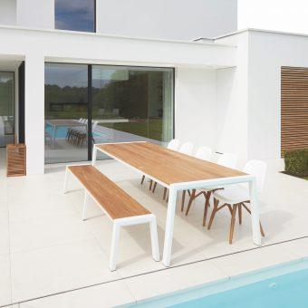 Modern Aluminum Teak Extra Long Dining Table