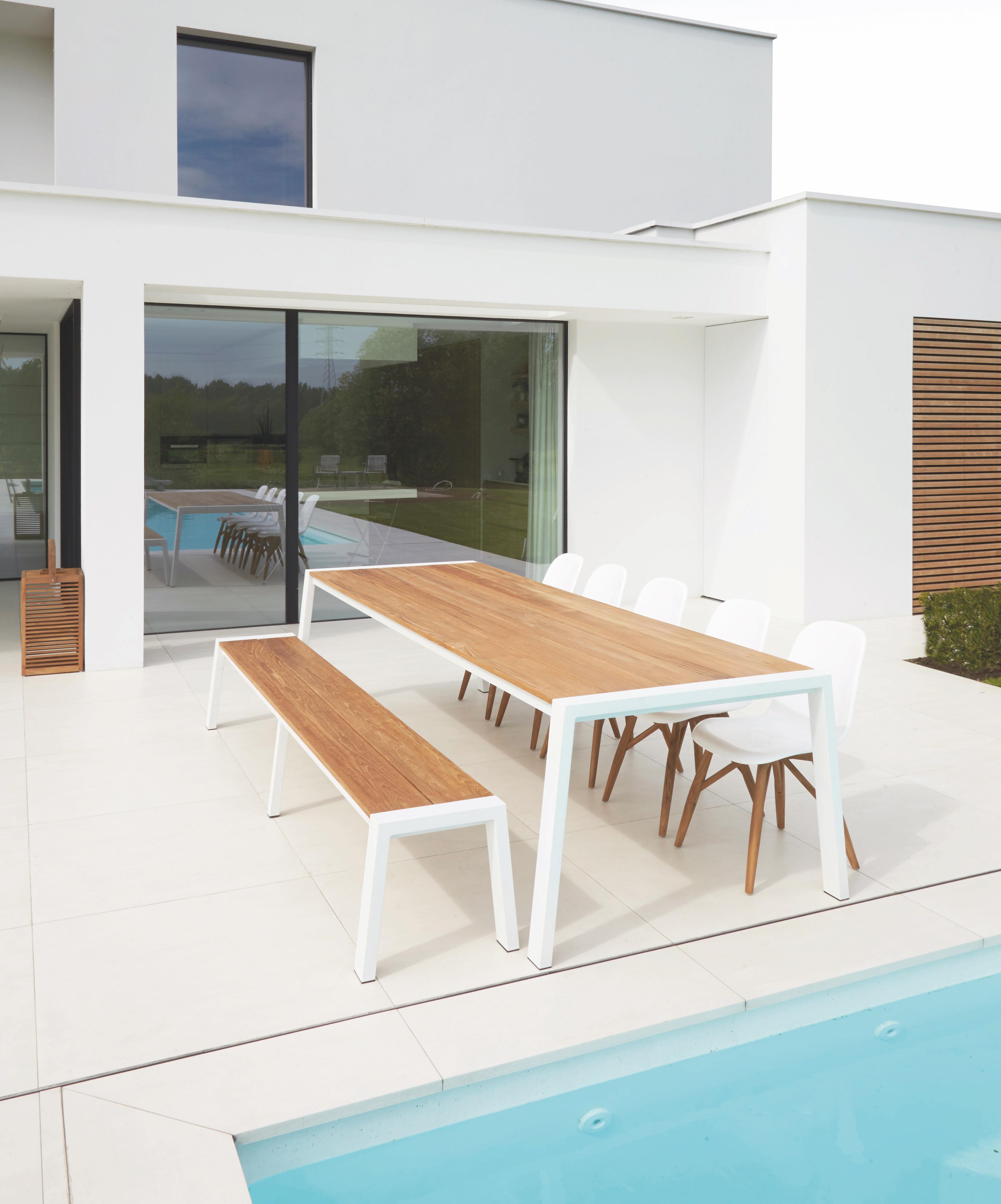 Bermuda Dining Table Luxury Modern Farm House Outdoor Furniture Teak  Aluminum XL Table 12 People