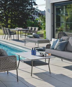 agreta club chair loveseat champagne grey contemporary outdoor furniture residential Hamptons Greenwich