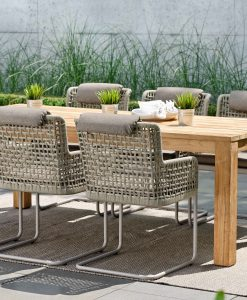 agreta cantilever dining chair champagne grey contemporary outdoor furniture residential Hamptons Greenwich