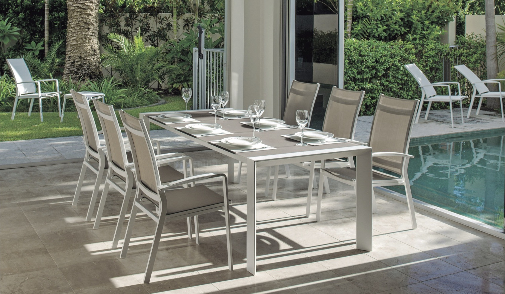 Alchemy Dining Table Modern Glass Extendable Teak All Weather Batyline  Aluminum Contract Hospitality Outdoor Furniture 2