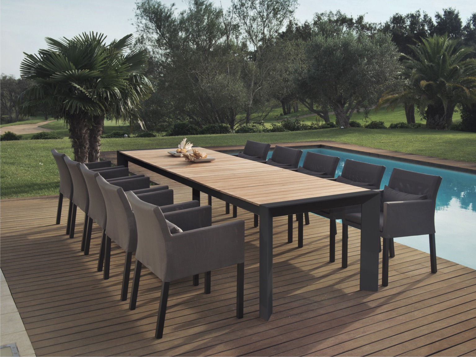Alchemy Teak Dining Table Couture Outdoor - Teak and aluminium outdoor table