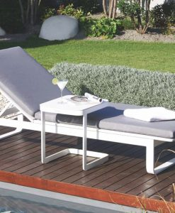 Averon Transitional Textilene Black White Chaise Lounger